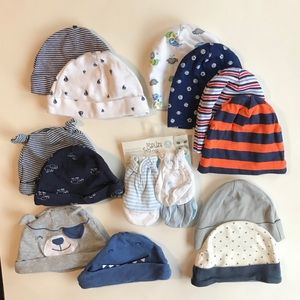 12 assorted infant hats and 4 mittens